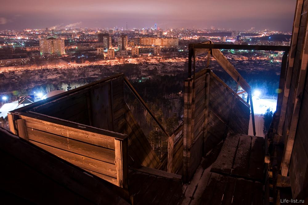 Трамплин на Уктусе ночь Екатеринбург с высоты