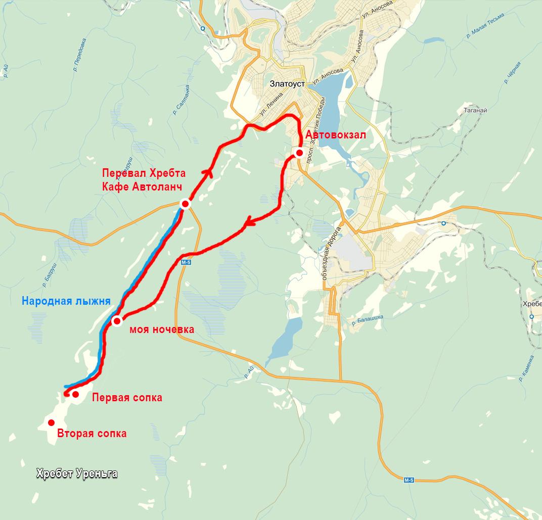 карта маршрут зимнего похода на хребет Уреньга