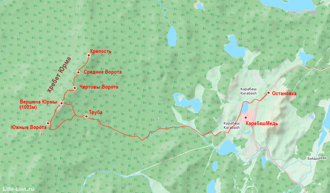 Карта хребет Юрма