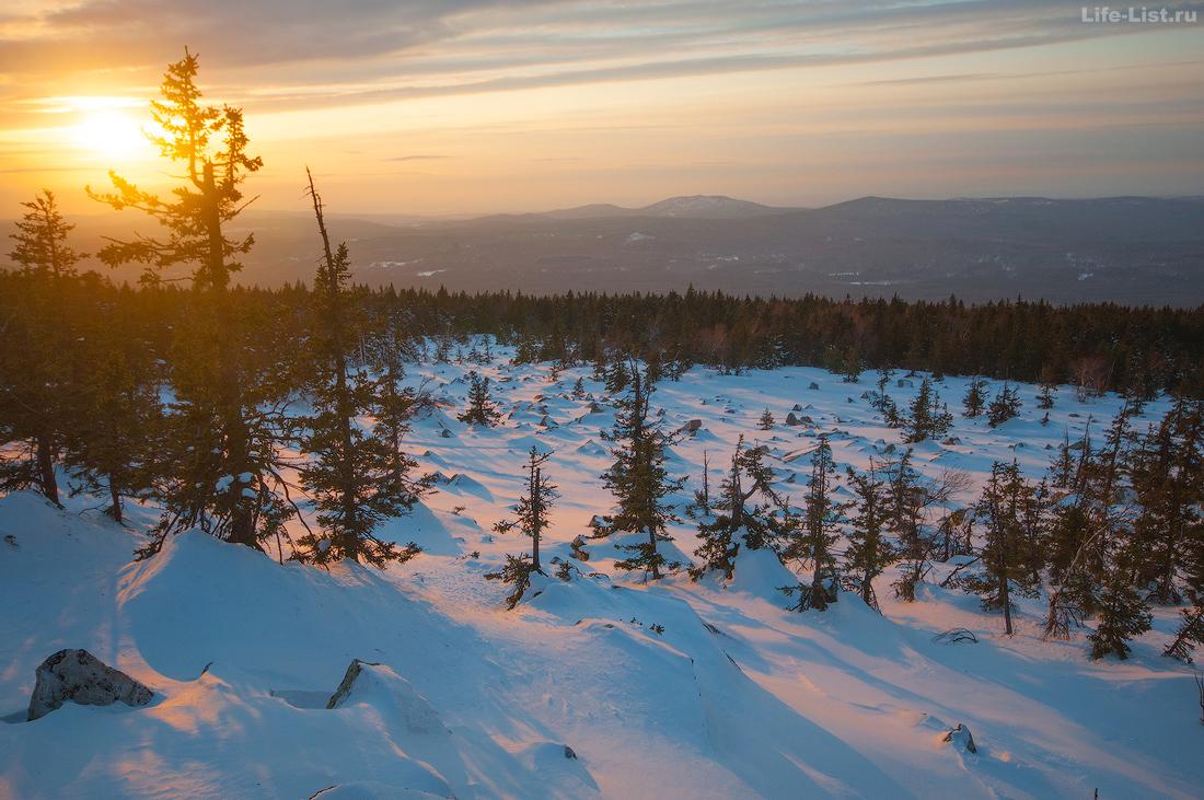 Закат хребет Юрма лыжный поход