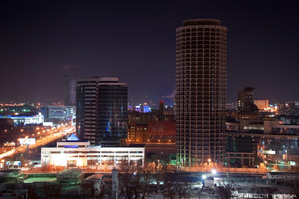 Бизнес центр Демидов. Ночной Екатеринбург