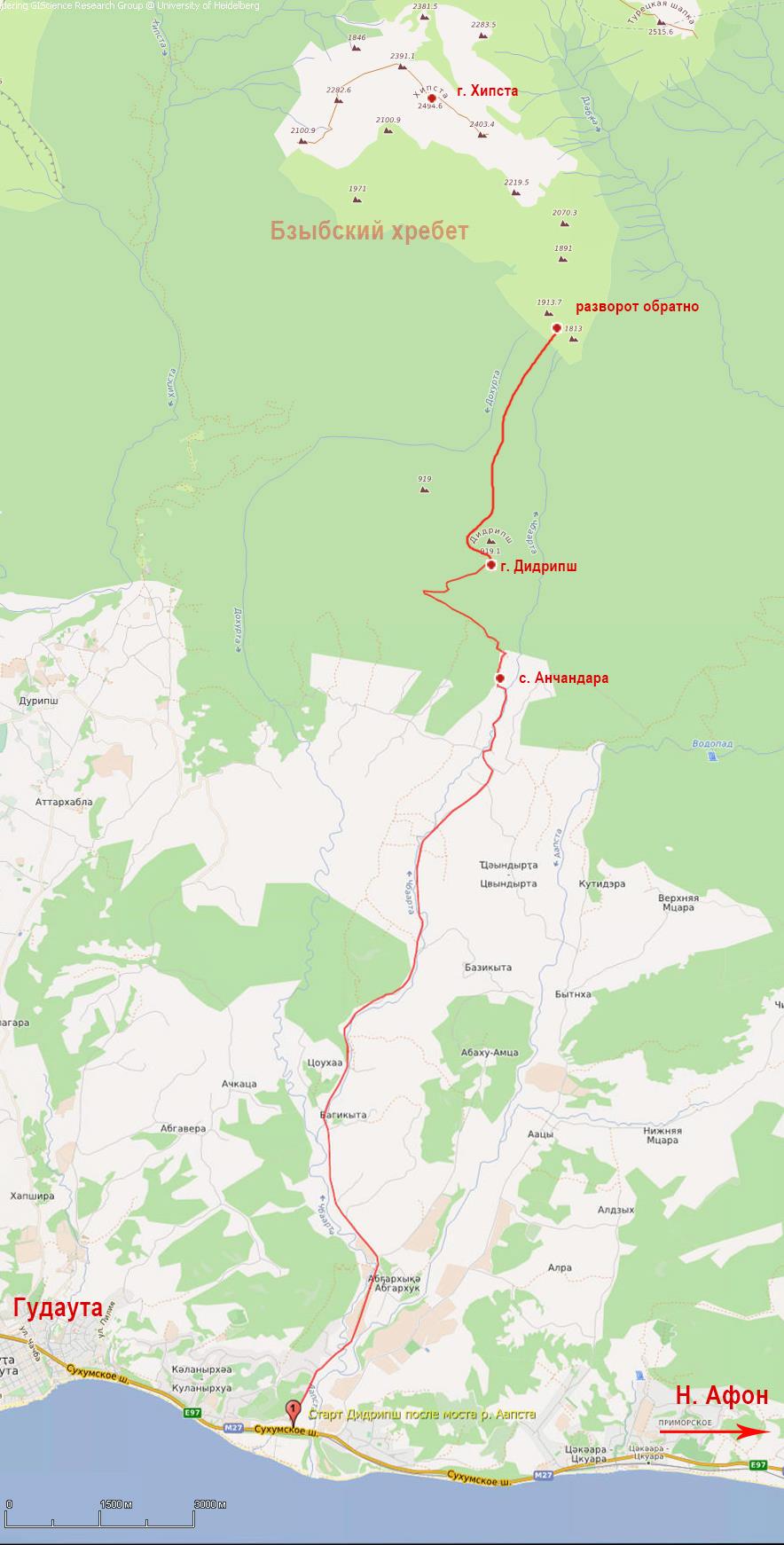 беговой поход Абхазия маршрут