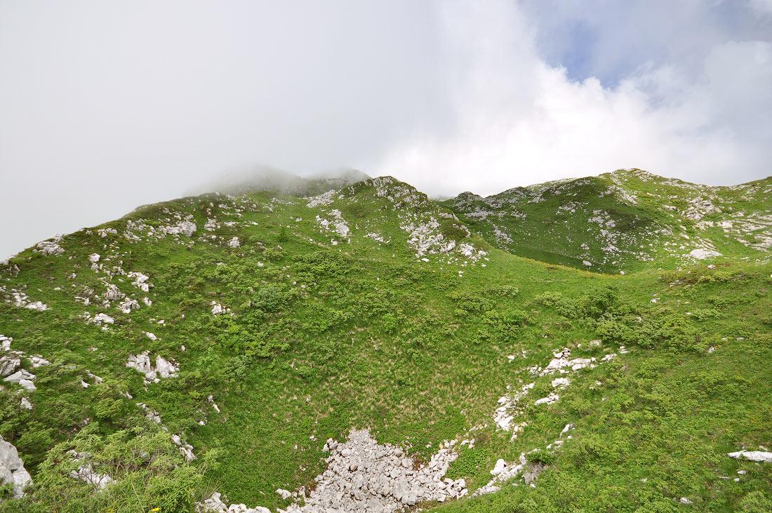 горы Абхазии Бзыбский хребет высота 1850м