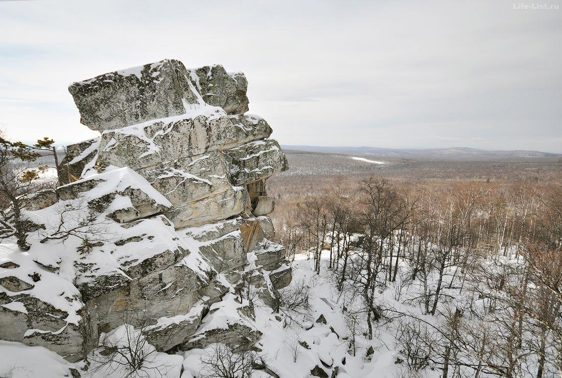 скалы зима хребет Алабия Башкирия