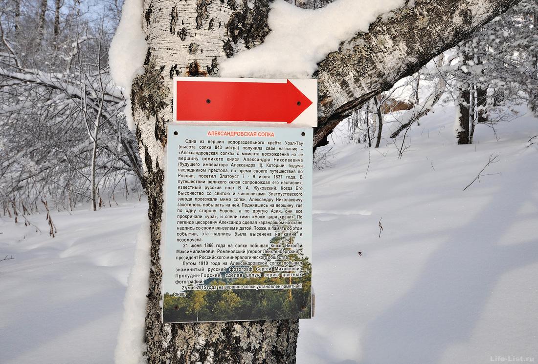 информационная табличка Александровская сопка