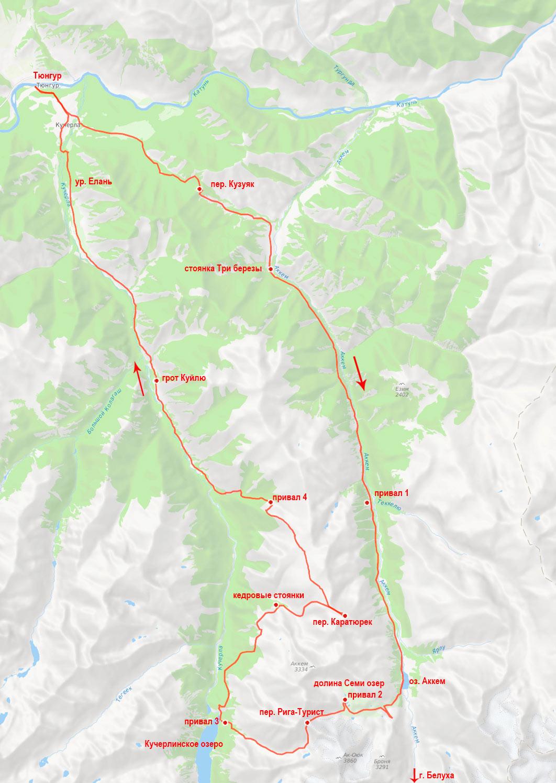 Карта маршрута к подножию Белухи 100км 5 дней