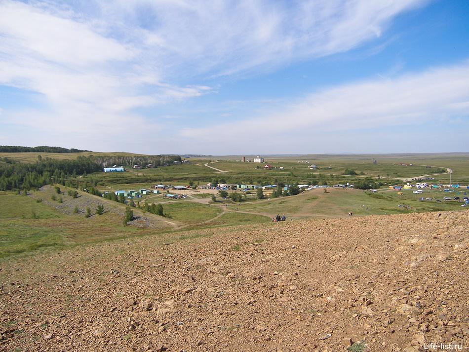 Вид на туристический городок в Аркаиме