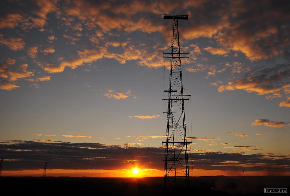 Красивый закат с радиомачты Екатеринбург
