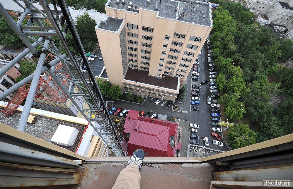 на балконе БЦ Антей высота
