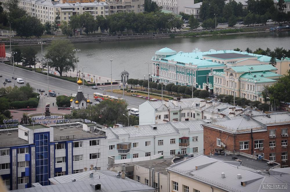 Вид на плотинку Екатеринбург с высоты