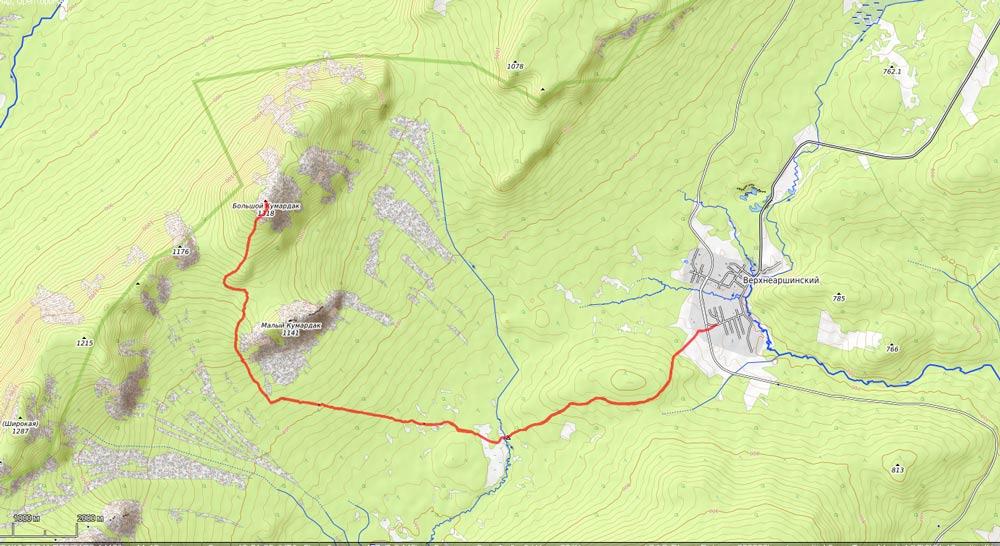 карта на гору Кумардак