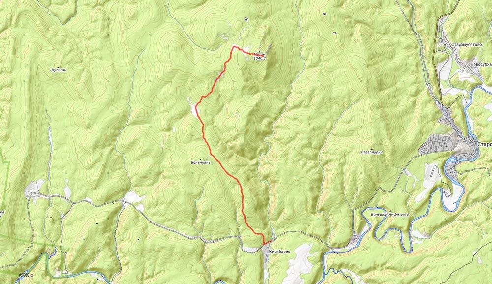 карта на гору Масим
