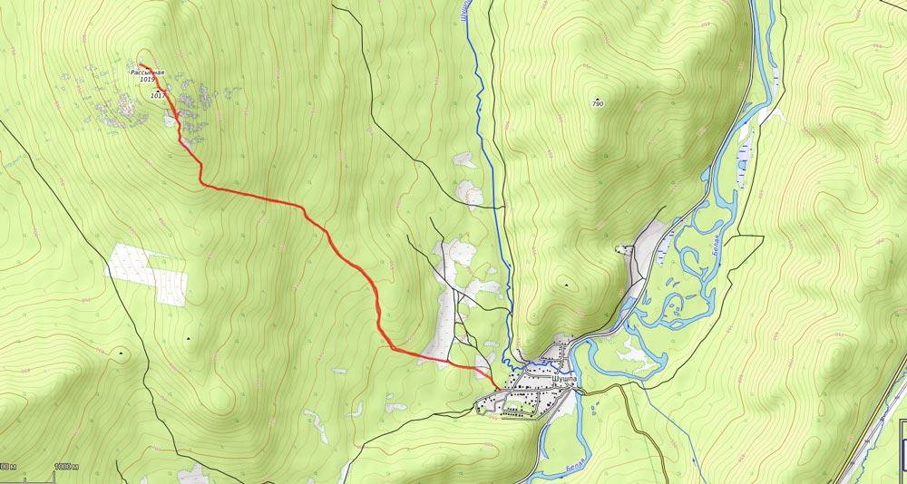 карта на гору Рассыпная Белорецк