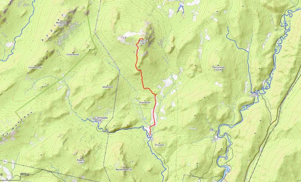 карта на гору Ялангас