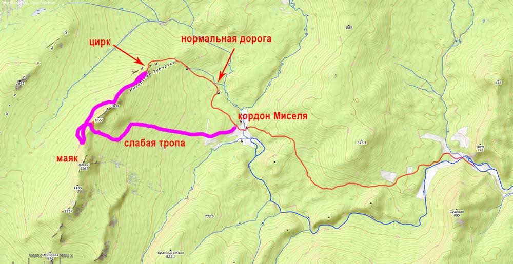 карта на Инзерские зубчатки