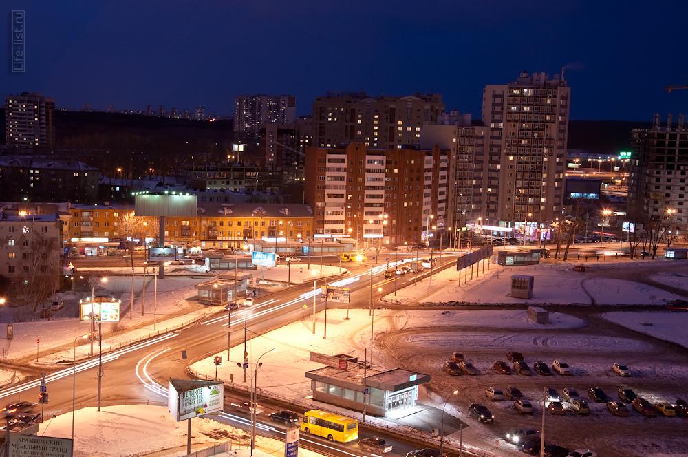 перекресток Белинского Шварца вечерний Екатеринбург с высоты