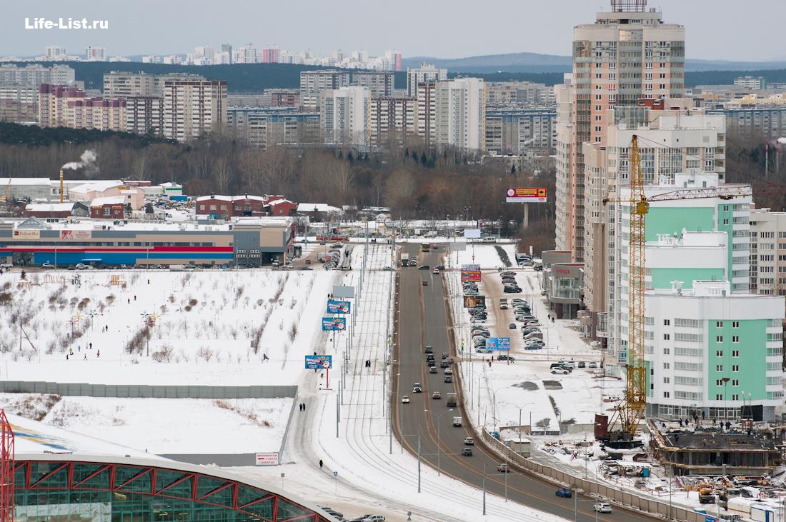 Улица Фучика в сторону 8 марта Екатеринбург