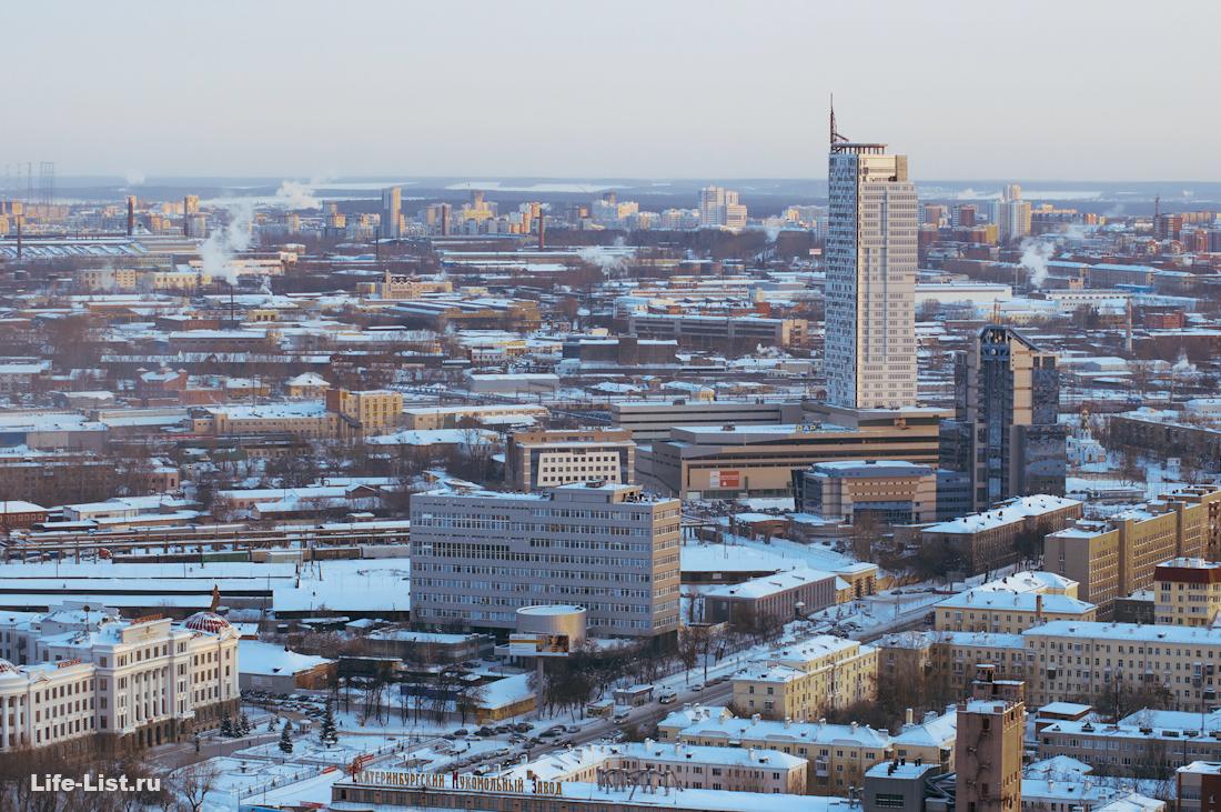 небоскреб Призма район вокзала с башни Исеть Екатеринбург