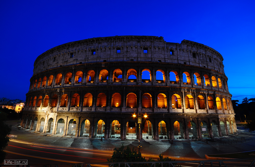 Красивое фото Колизея в Риме ночная фотография Colosseo