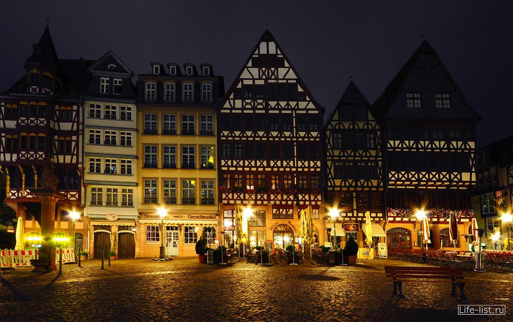 Ночной Франкфурт фото Виталия Каравана Римская площадь
