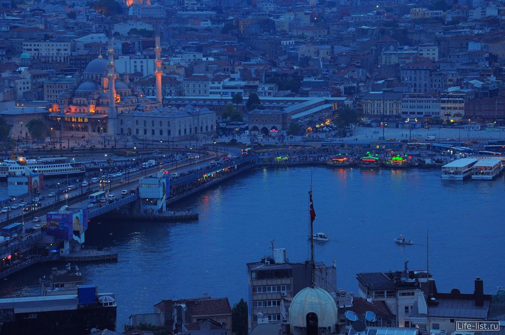 вечерний стамбул с высоты галатский мост