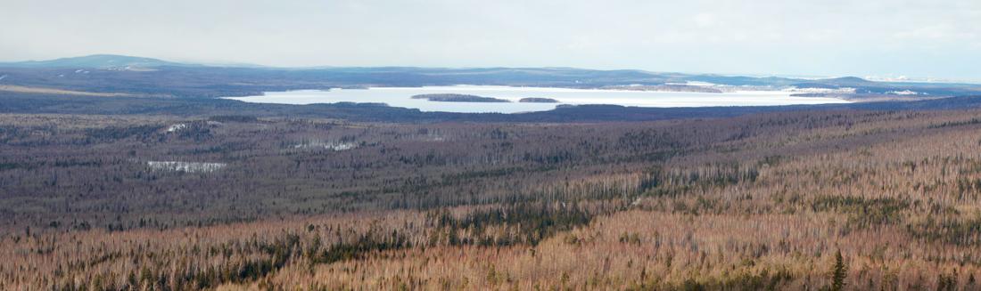 панорама на черноисточинский пруд с горы Аблей Средний Урал