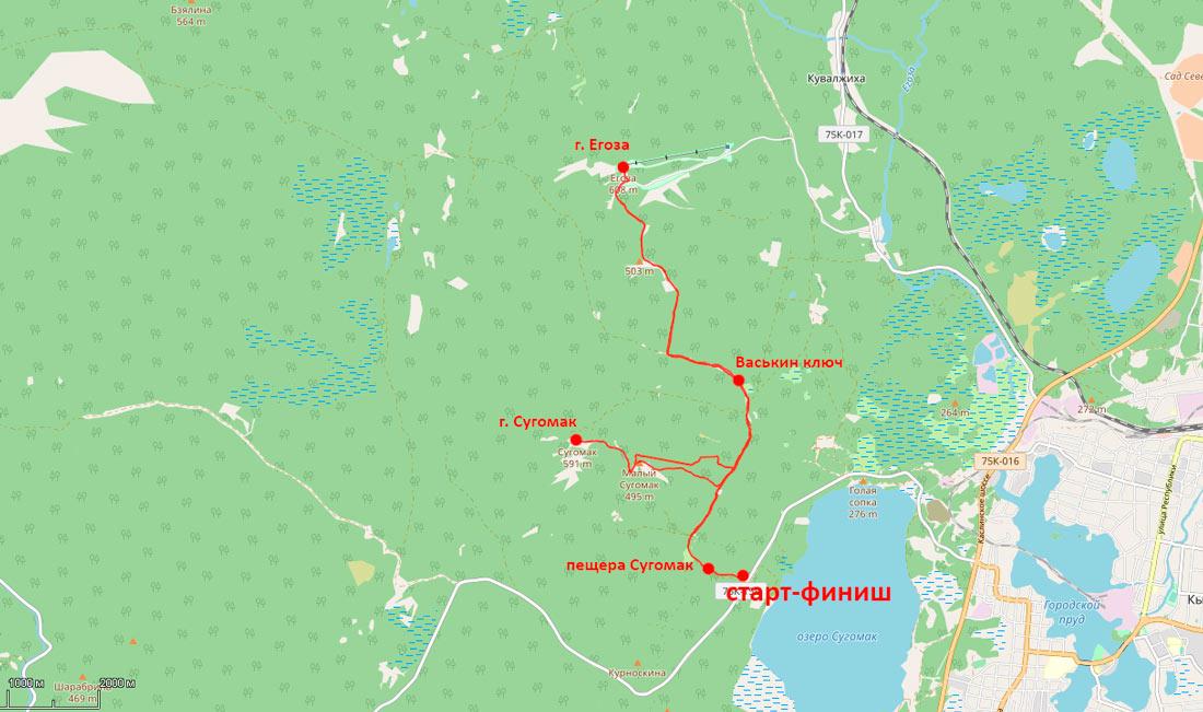 карта тропы гора Сугомак гора Егоза