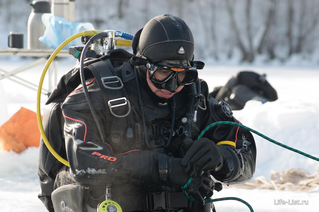 ice diving фото Виталий Караван подледный аквалангист