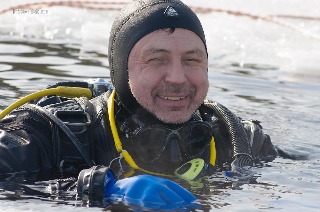 аквалангист зимой ice diving фото Виталий Караван