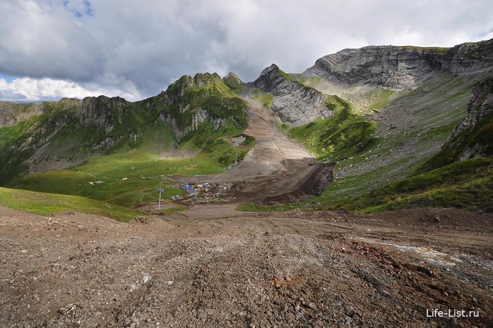 будущая горнолыжная трасса горная карусель аибга Красная поляна