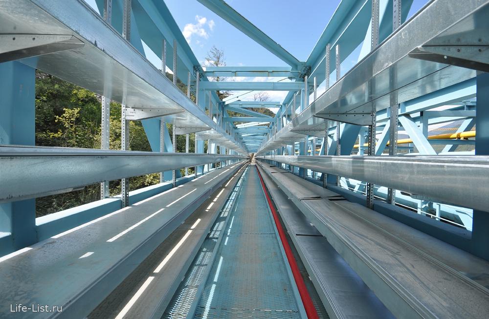 временный мост через реку Мзымта стройка 2013
