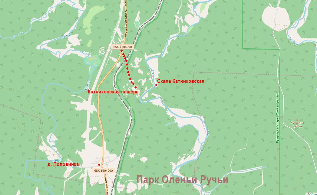 Катниковская пещера на карте