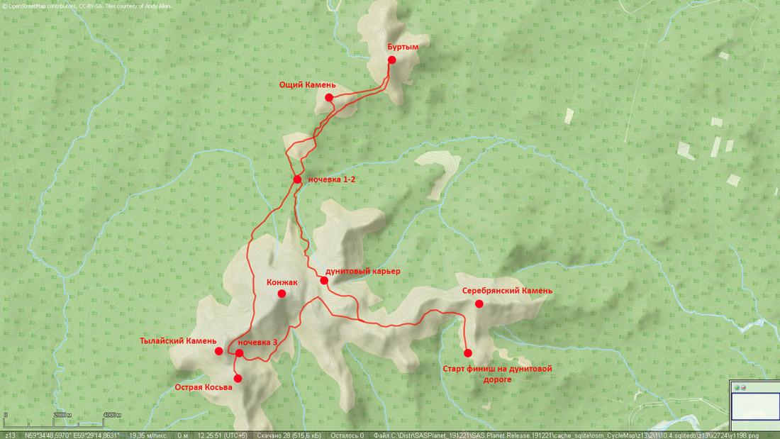 карта лыжного похода по конжаковскому массиву Буртым Острая Косьва май