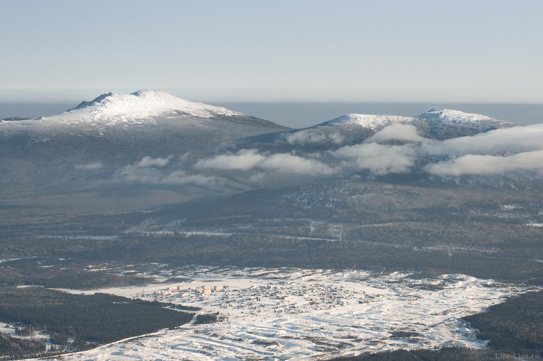 Вид на Кытлым и окружающие горы. Сухогорский (Казанский) Камень и гора Семичеловечья