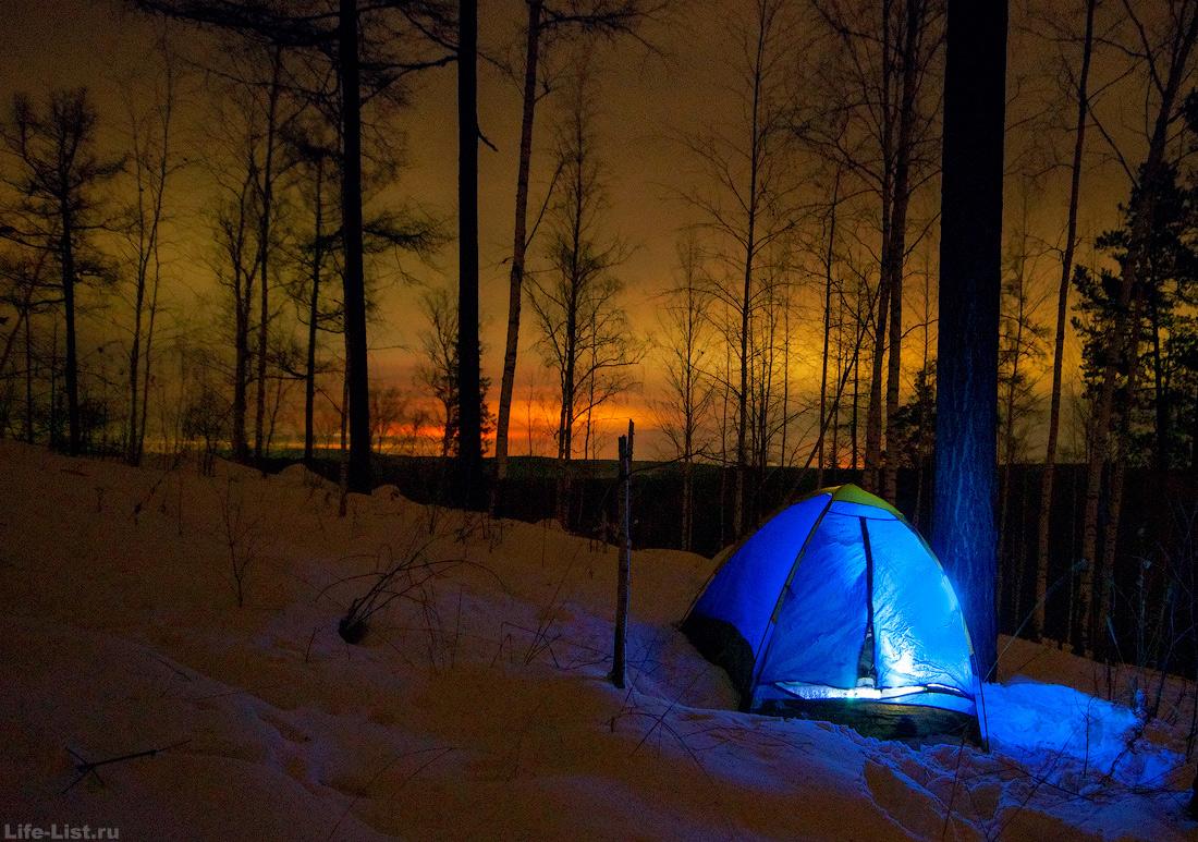 ночевка зимой в палатке Средний урал поход