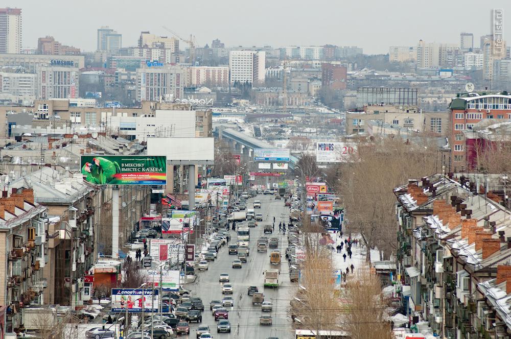 вид на город Новосибирск с высоты улица проспект Карла Маркса