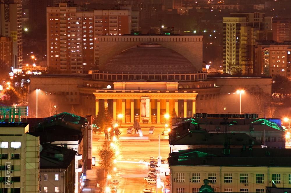 фото с высоты театр оперы и балета Новосибирск