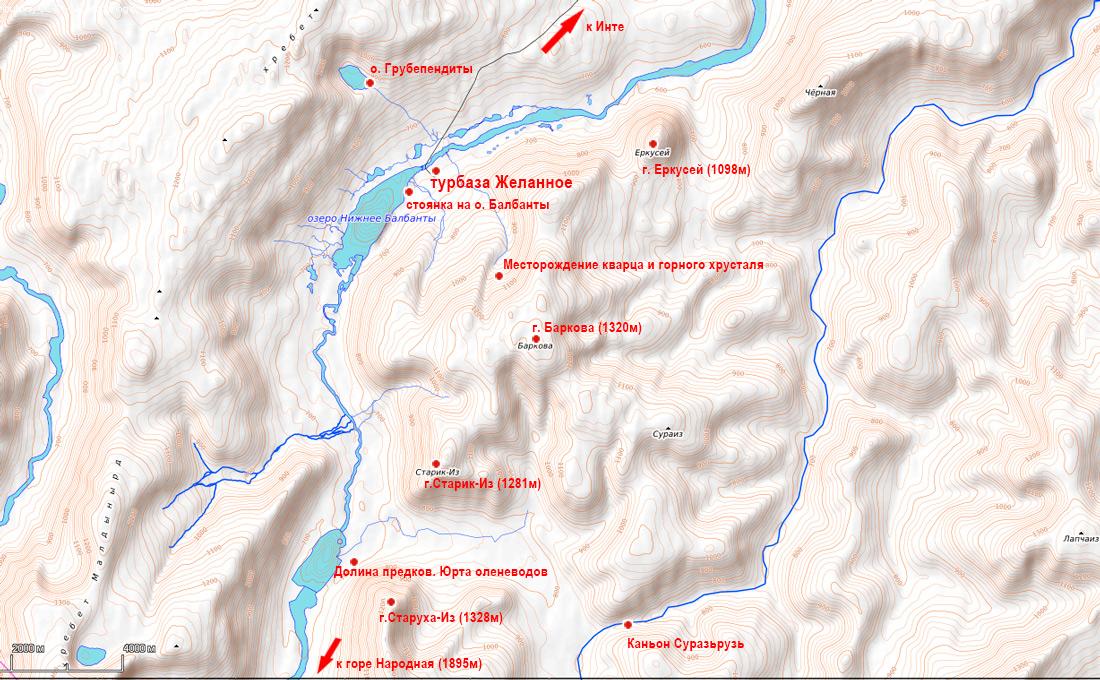 карта окрестностей турбазы Желанное Природный парк Югыд ва