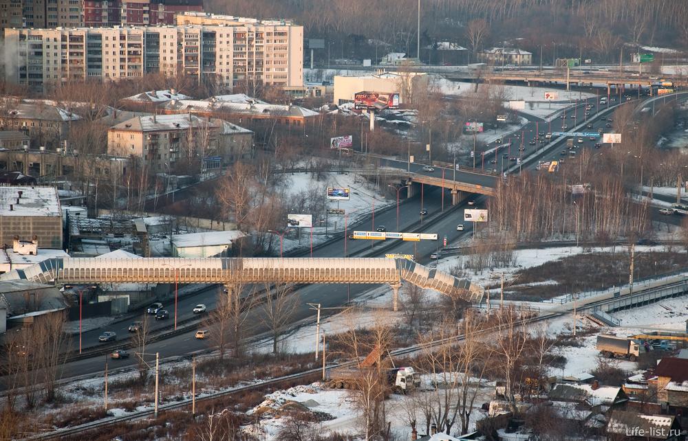 Пешеходный мост Екатеринбург с высоты