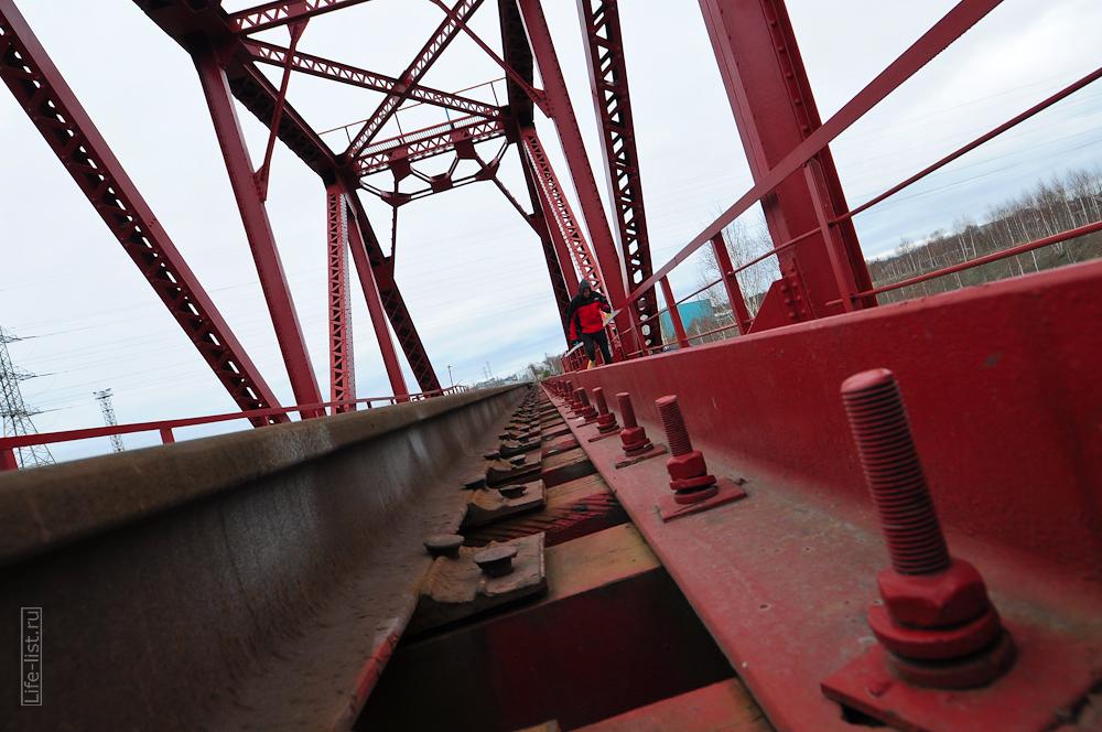 жд мост красный рельсы