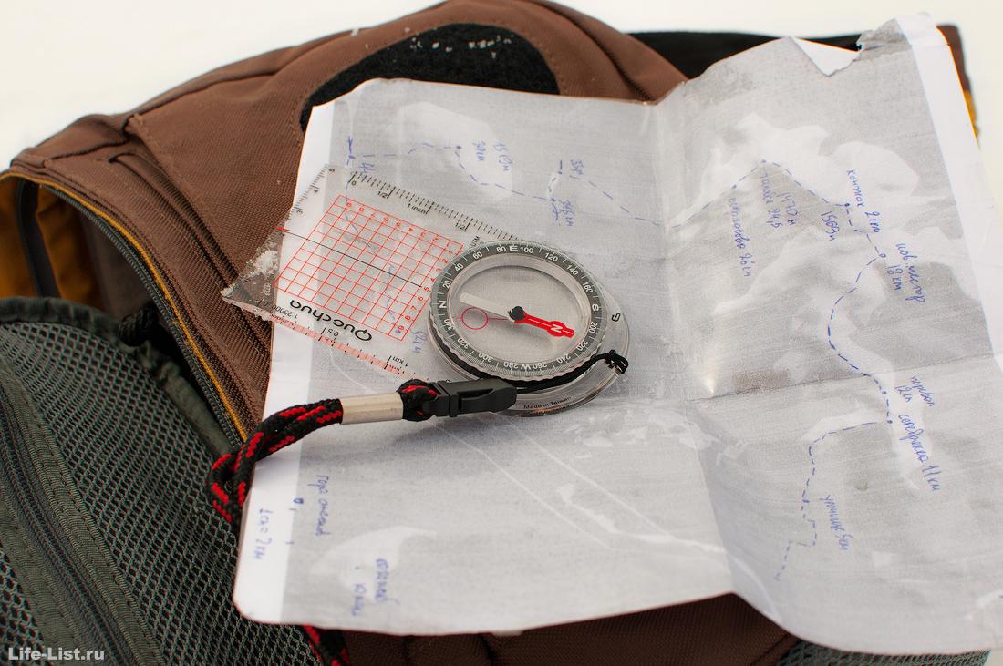компас ориентирование карта Конжака поход