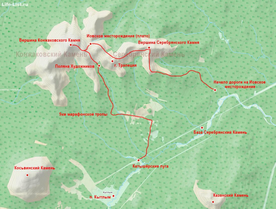 карта схема поход на Серебрянский и Конжаковский камень