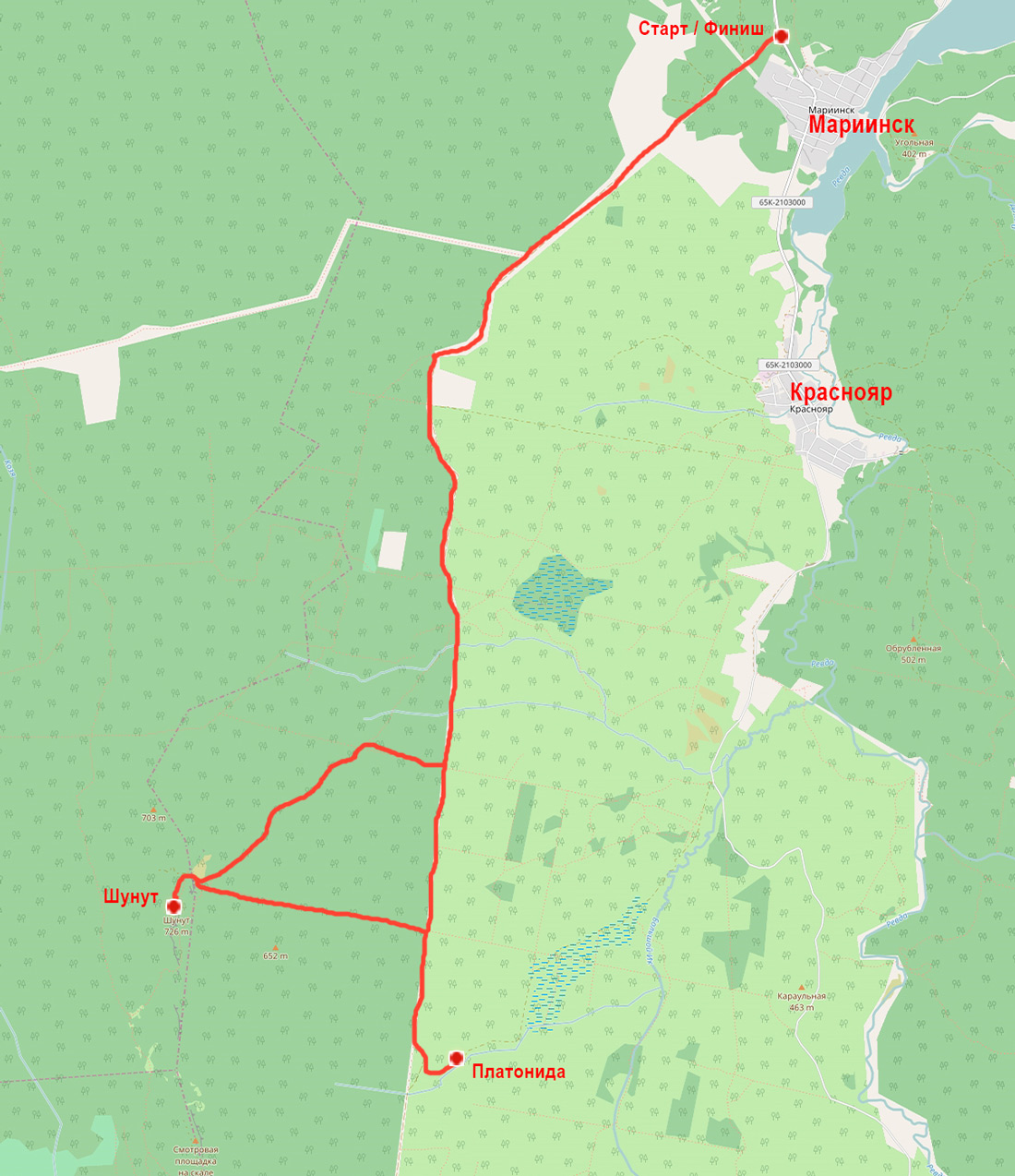 Традиционный пробег на Шунут карта пробега