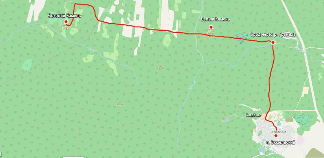 маршрут схема на Соколий Камень от Поселка Зюзельский
