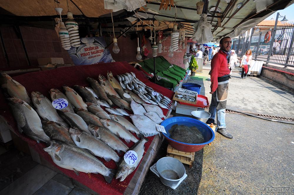 Рыбный рынок в Стамбуле лотки