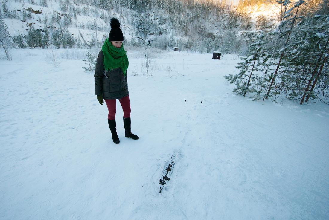 Затопленный карьер Старая линза зима 2017 пила под снегом