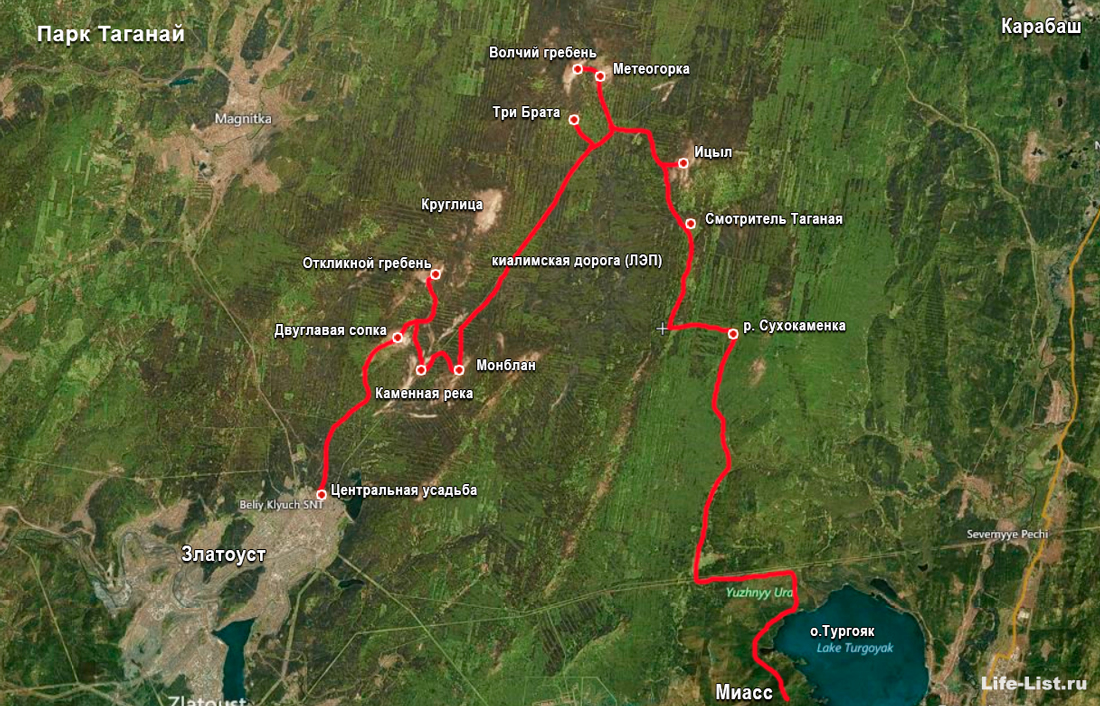карта схема похода по Таганаю Южный Урал осень 2015