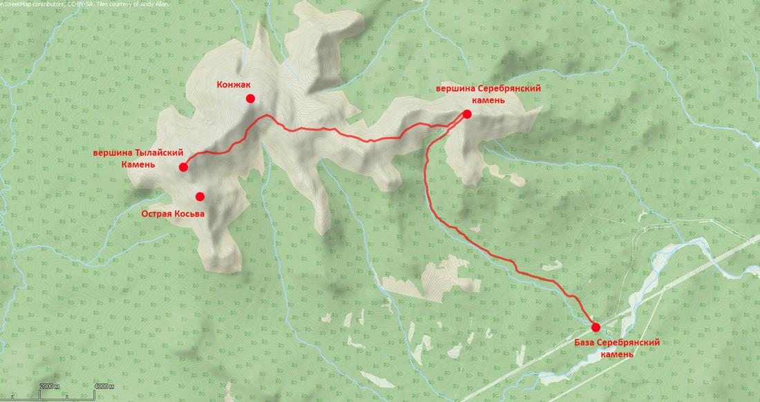 карта лыжный поход на Тылайский камень за один день Виталий Караван