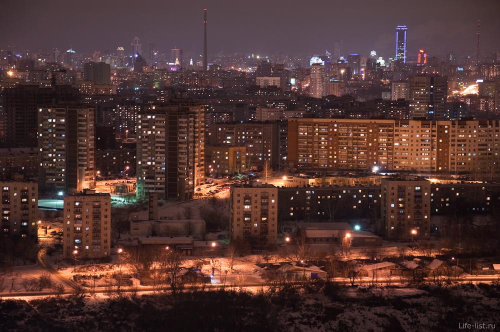 Трамплин на Уктусе вечерний Екатеринбург