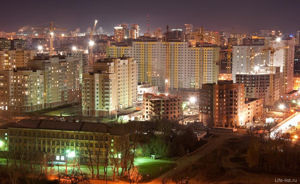 Ночной Екатеринбург. Южная ЖК на пересечении Щорса - Союзная